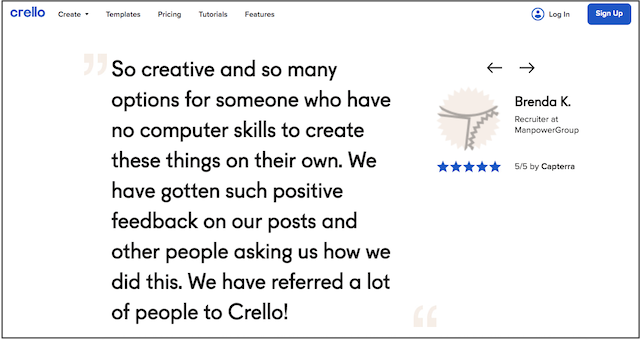 Crello Customer Testimonial on Their Website