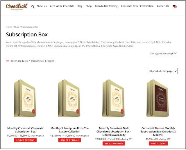 Cocoatrait Chocolates Subscription Page