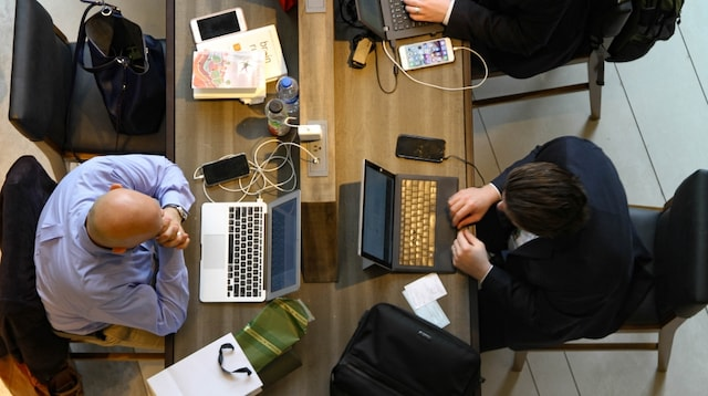 Coworking Overhead View of Three-men-working