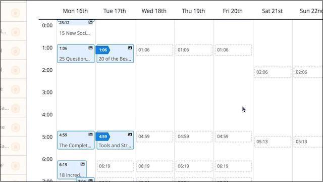 Example of a social media calendar using Buffer