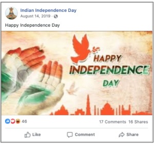 Facebook Post Wishing Happy Independence Day Celebration