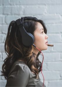 Freelance Work Young Woman with Headset