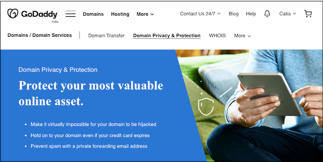 GoDaddy Domain Privacy and Protection Landing Page