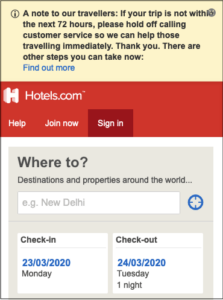 Hotels Dot Com COVID 19 Message