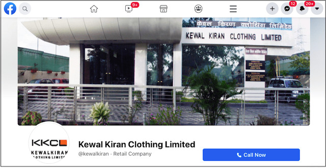 Kewal Kiran Clothing Limited Facebook page