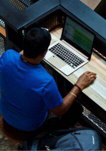 PHP Web Development Man Working Alone
