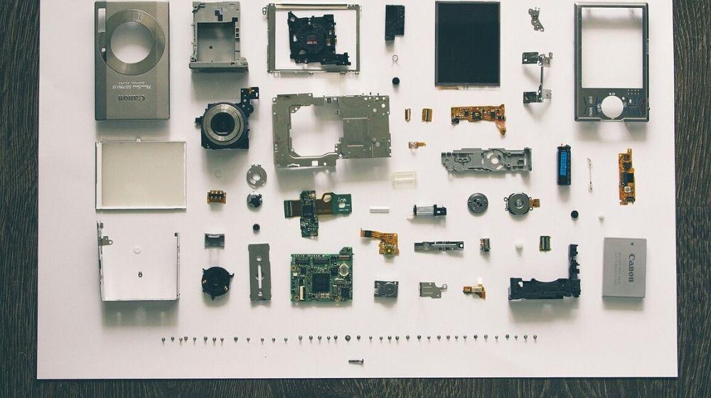 Reverse Engineering Overhead View of Unassembled Camera