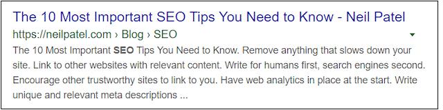 SEO Techniques Title and Meta Description Example