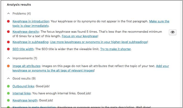 SEO Techniques Yoast Readability Analysis Tool