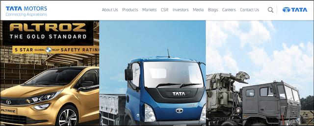 Tata Motors Example of a Corporate Website