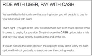 Uber Announcement That it Now Accepts Cash