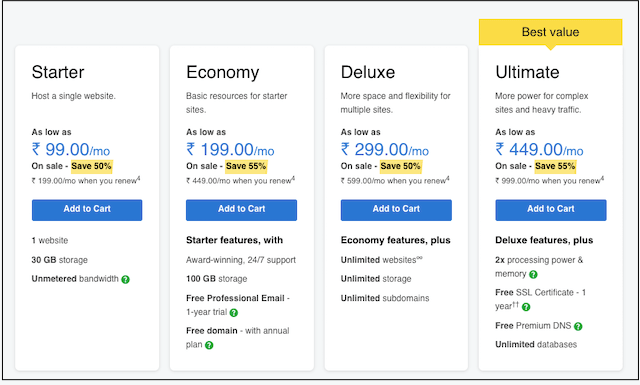 Web Design Work GoDaddy Hosting Price Table