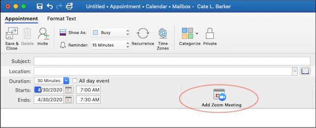 Zoom Cloud Meetings Scheduling a Meeting in 0365