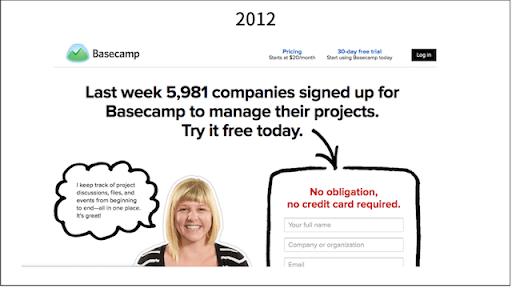 Screenshot of Basecamp header from 2012