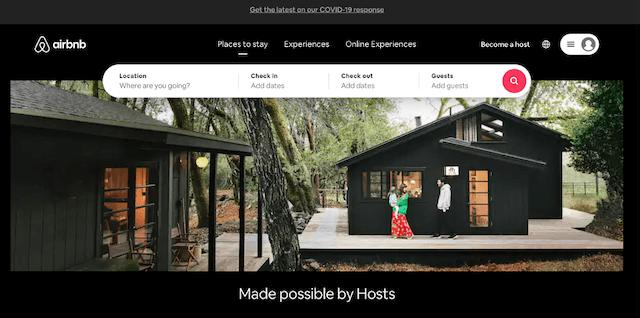 Screenshot of Airbnb header