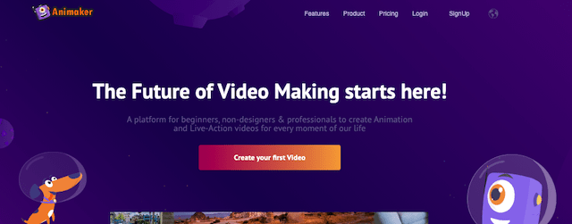 Animaker website home page