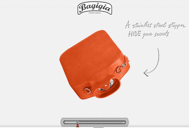 Bagigia website displaying a bright orange bag