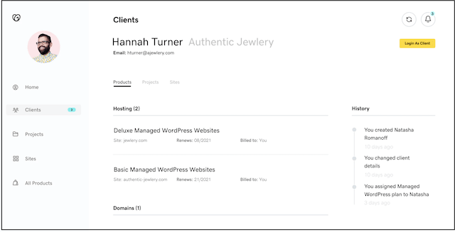 Hub by GoDaddy Pro client screen