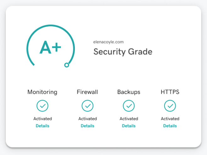 Screenshot of all the tools now included in website security