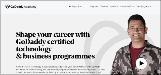 GoDaddy Academy Website Home Page