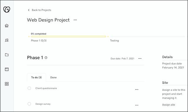 Hub by GoDaddy Pro project screen