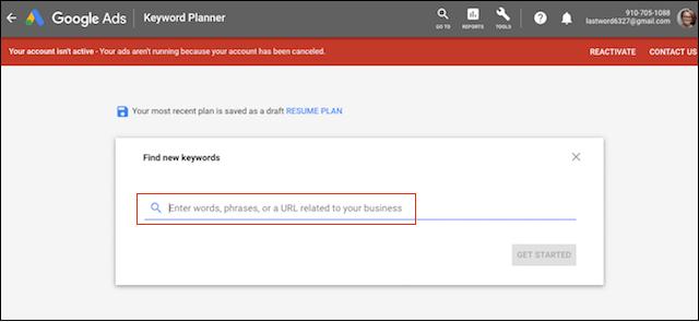 PPC Google Ads Keyword Planner