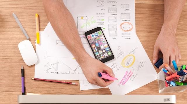 Job Description Developer Overhead View of Man Working at Desk