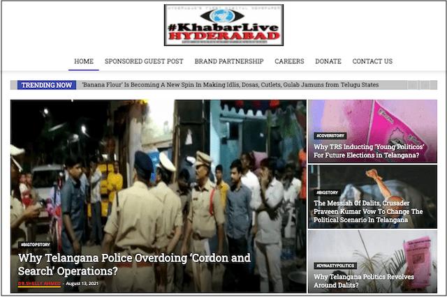 KhabarLive Hyderabad News home page