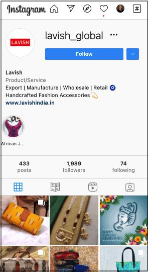Lavish Instagram account