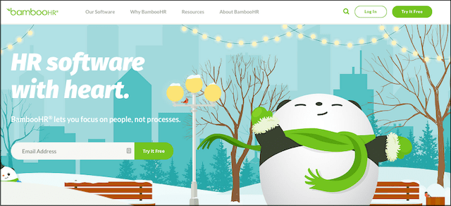 Screenshot of BambooHR home page