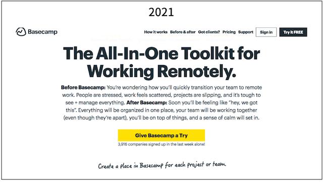Screenshot of Basecamp header from 2021