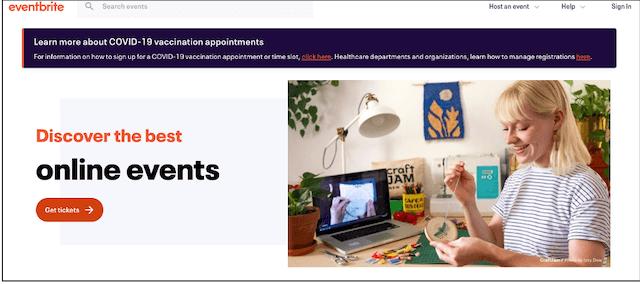 Screenshot of Eventbrite header with example CTA