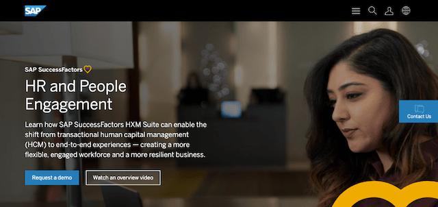 Screenshot of SAP SuccessFactors home page
