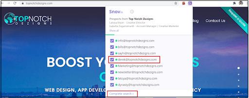 snov.io extension screenshot