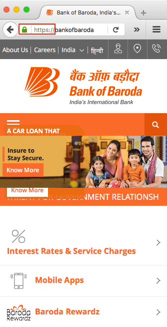 SSL Protocol Bank of Baroda