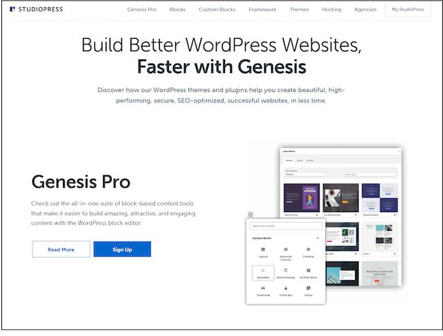 StudioPress Homepage header