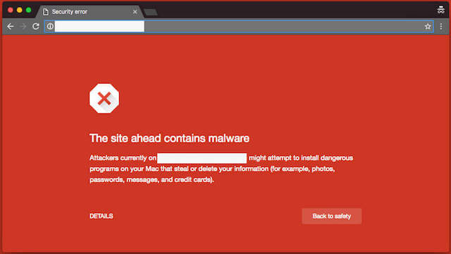 People who try to open a website that's been blacklisted receive a warning like this.