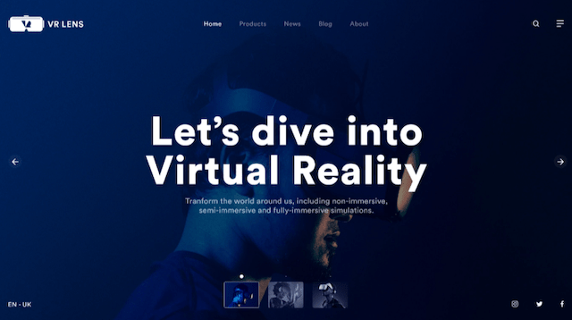 """VR Lens website with the words """"Let's dive into virtual reality"""""""