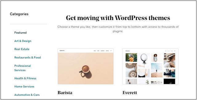 Web page showing Managed WordPress themes