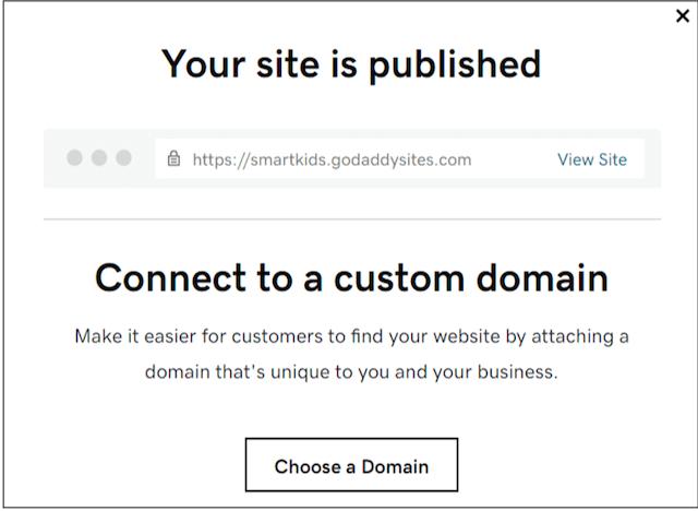 Websites + Marketing site published screen